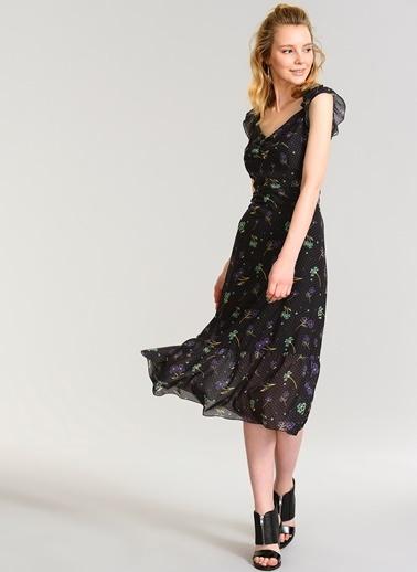 Agenda Omuzları Açık Çiçekli Elbise Siyah